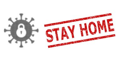 Grunge Stay Home Seal and Halftone Dotted Outbreak Lockdown