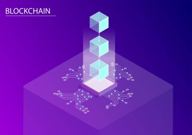Blockchain concept. 3d isometric vector illustration with floating connected blocks and data flow