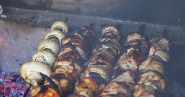 Opékanky vepřového masa na grilování venku při obědě. Shašlik připravený na otevřeném ohni