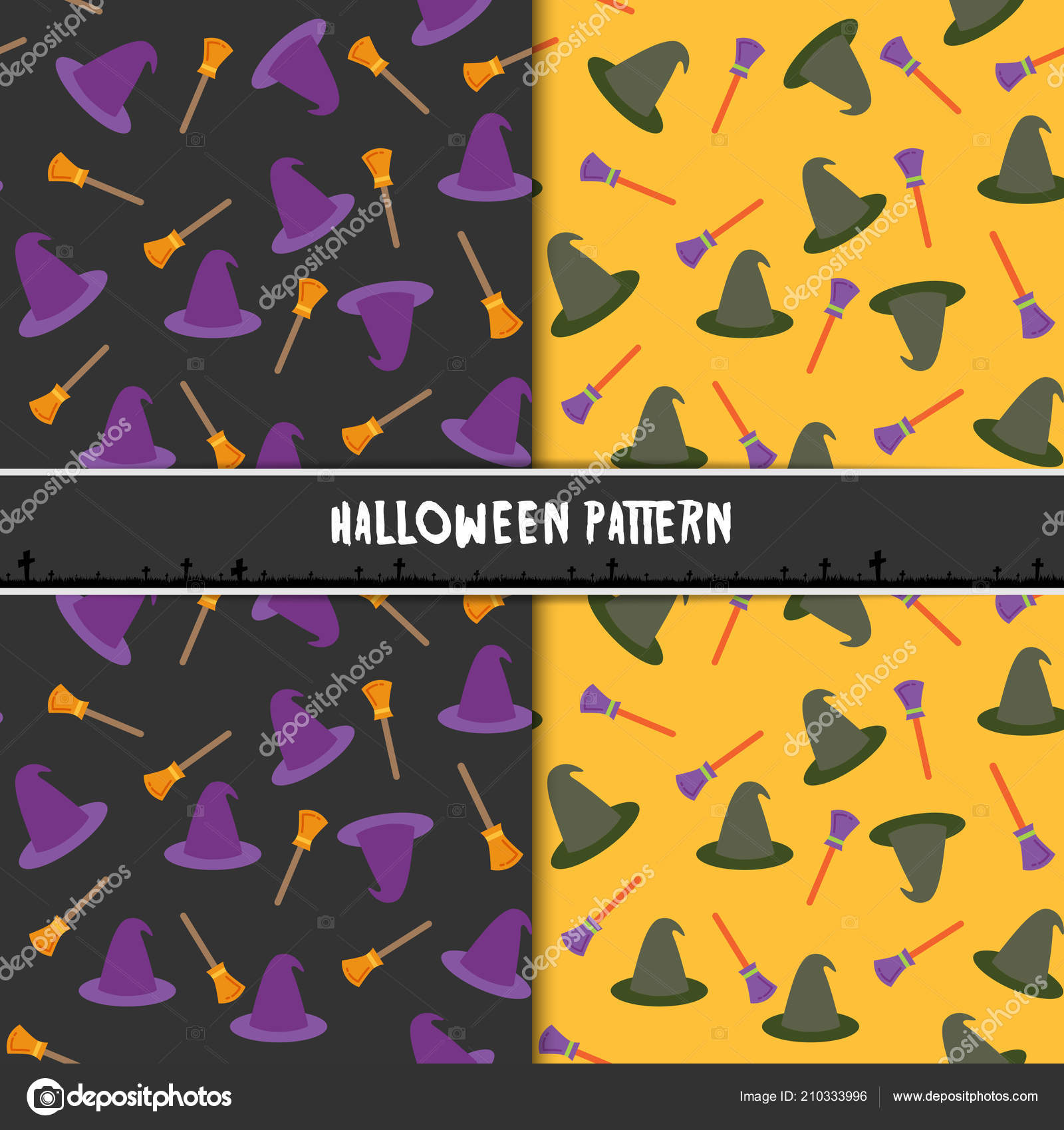 halloween seamless pattern hat broom design background wallpaper