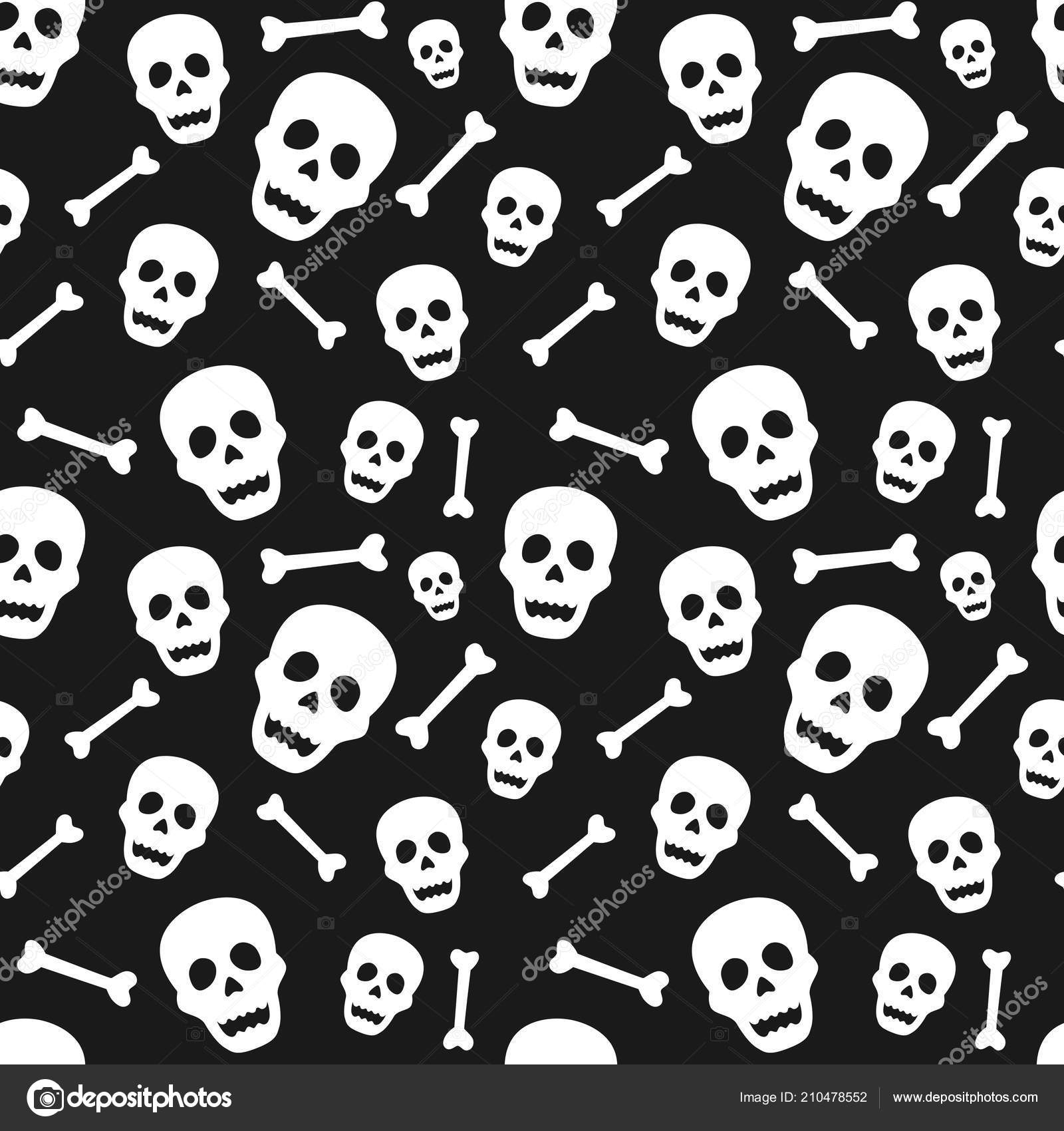 Halloween Seamless Pattern Skull Bone Design Background