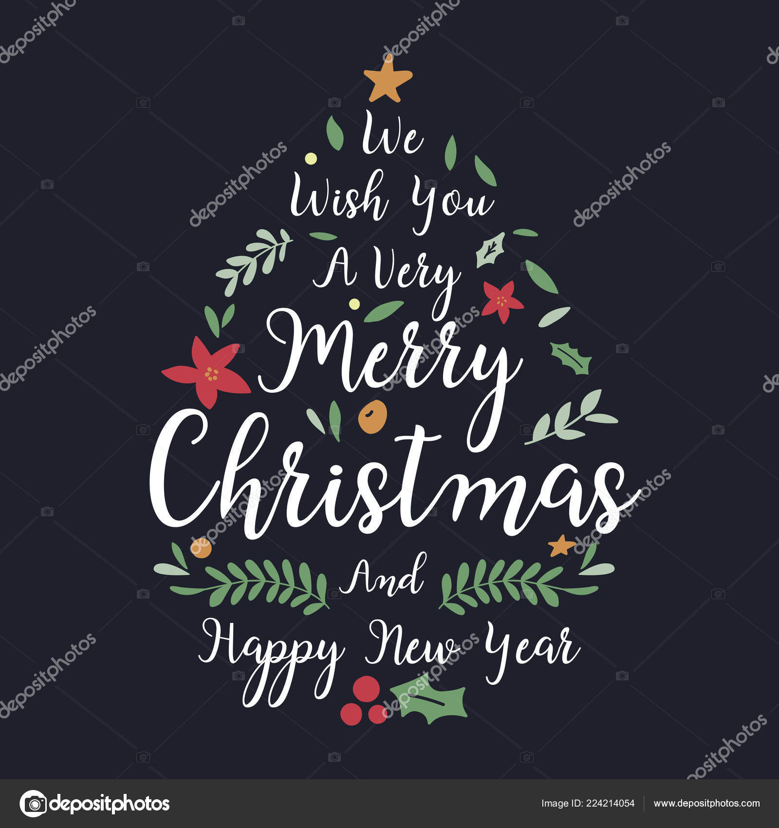 christmas and new year greeting or invitation card christmas lettering design with decorationvector illustration vector by kosonphotogmailcom