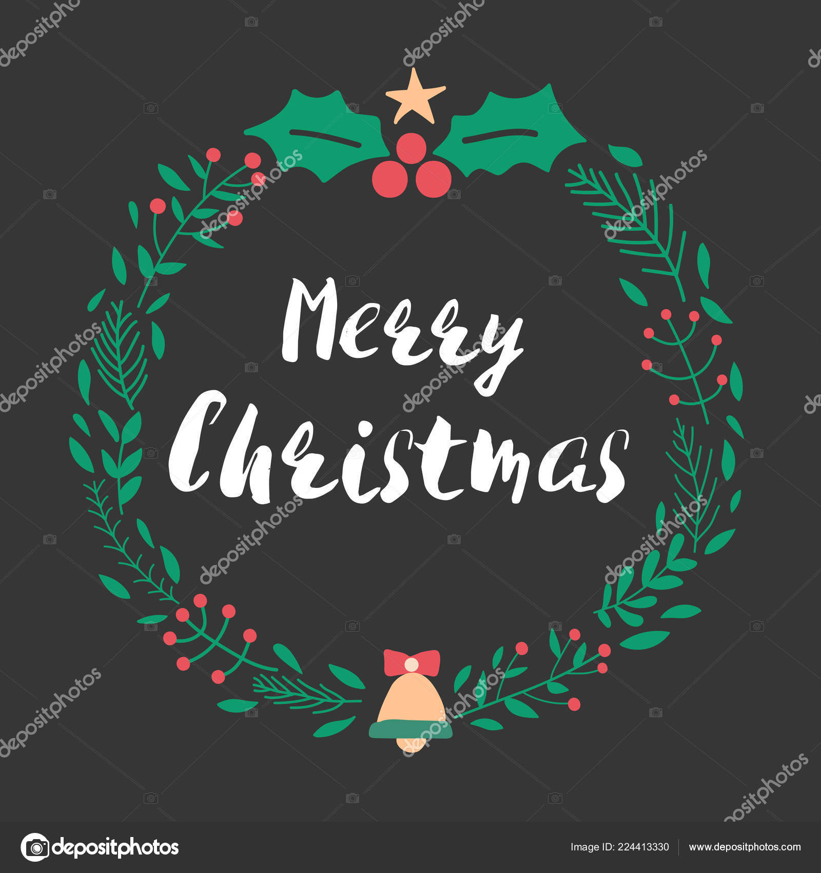 christmas and new year greeting or invitation card christmas lettering design with wreath decorationvector illustration vector by kosonphotogmailcom