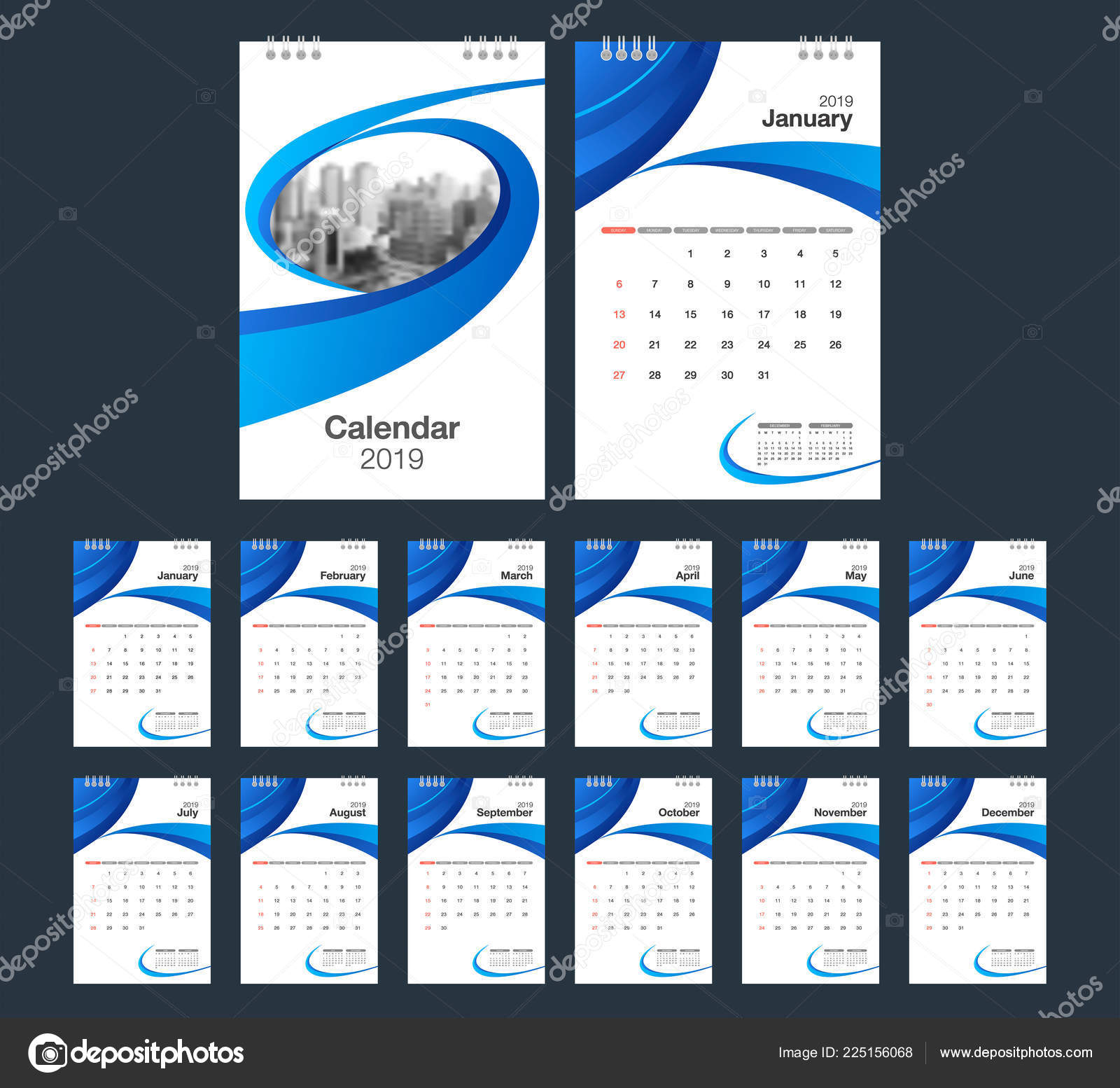 2019 Calendar Desk Calendar Modern Design Template Place Photo Week