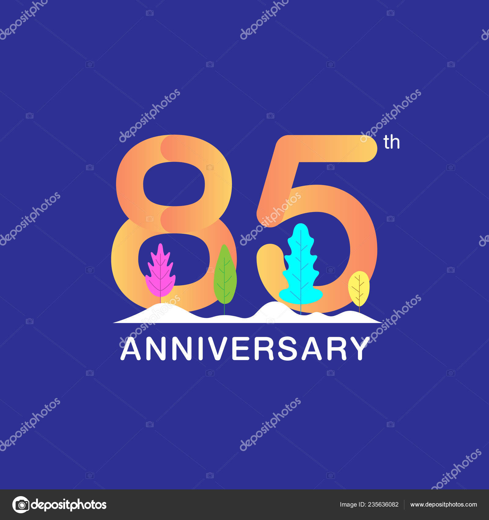 Years Anniversary Celebration Logotype Multicolor Number