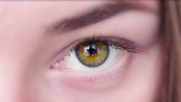 Gyönyörű zöld szem makró Slowmotion lány zöld szem, barna csíkok kíváncsian nézett. Nő visel teszik ki.