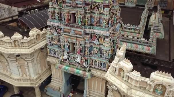 Aerial Approach Sri Maha Mariamman Temple Indian Buddhist Malaysia Kuala Lumpur KL. Historical old culture Religion. Chinese Quarter historic street. Unique Sculpture. Tourists attraction Landmark