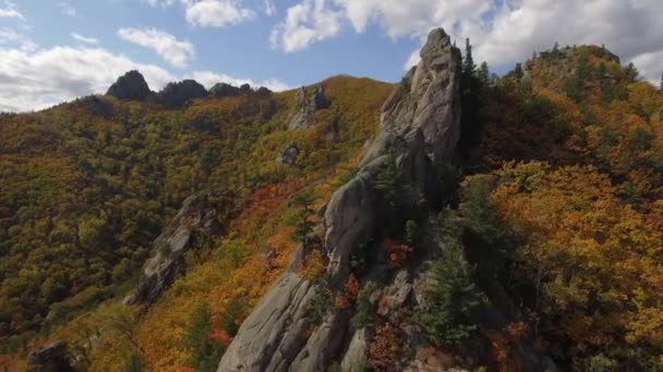 DRONY jedinečnou krajinu skály kameny megality na vrcholu Ridge Mountains. Malebná příroda podzim smrkové lese níže. Letní modrá obloha mraky. Divoké nedotčené přírodní. Vrtulník v blízkosti