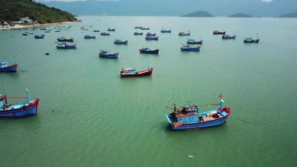 Helicopter top lot ships fleet fishing parking deck colorful traditional  transport  Natural exotic landscape blue sea water  Industry economy   sunny  Vietnam China Asia