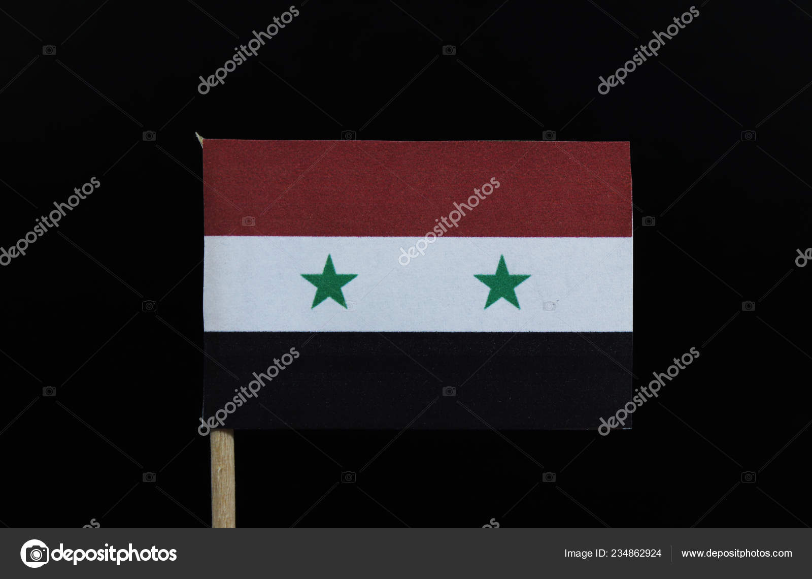 Symbolic Official Flag Syria Toothpick Black Background Horizontal