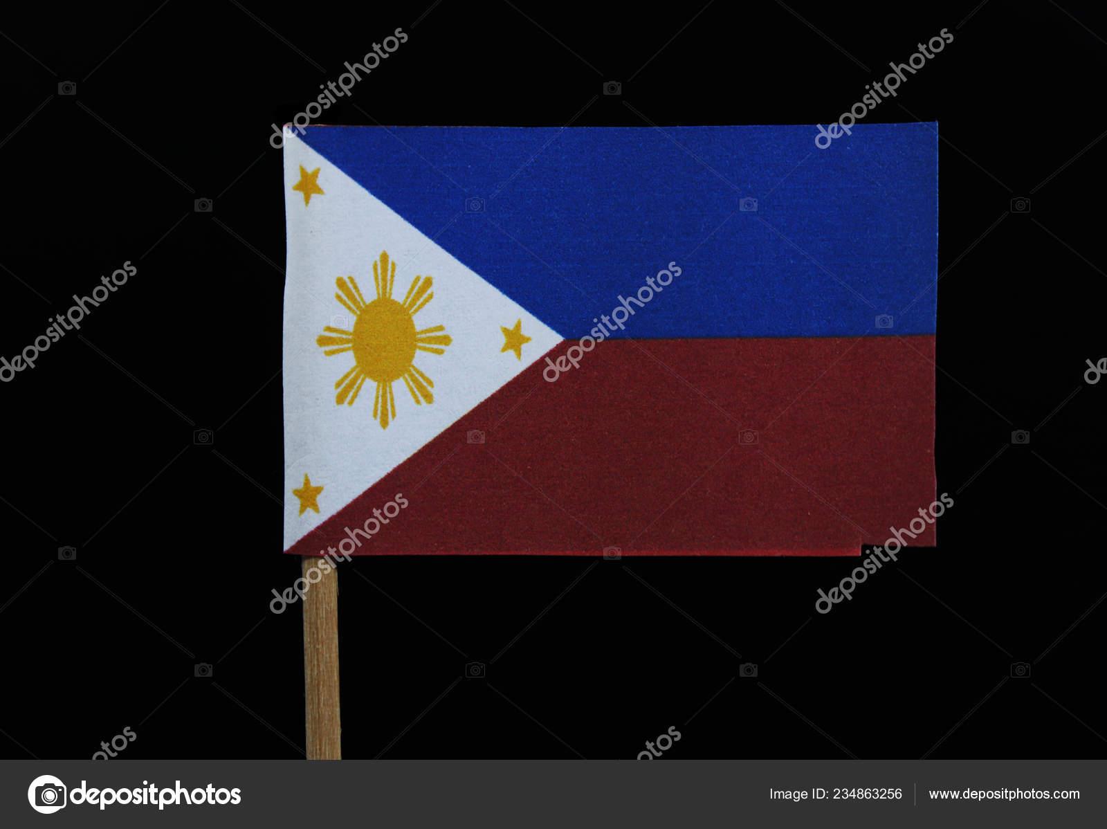 Drapeau Officiel Des Philippines Sur Cure Dent Sur Fond Noir