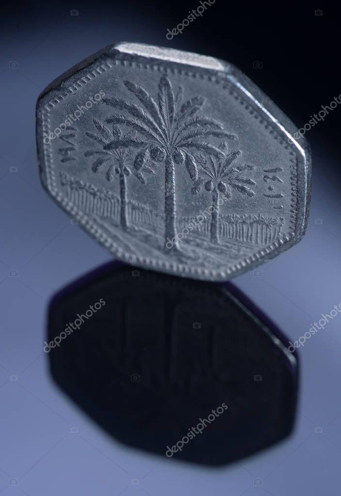 250 Iraqi fils on the mirror surface. numismatics, coins of the world