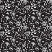 Fotografie handgezeichnetes Blumenmuster auf dunklem Hintergrund. einfarbig. Vektor abstrakte Oberflächengestaltung.