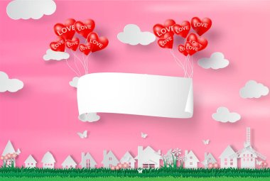 Paper art and craft of happy Valentine Day,Paper signboard air balloon heart floating on cityscape,cloudscape,pink,heart.Vector illustration