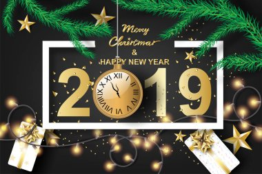 Paper art of merry christmas and happy new year 2019 with black tone color background Vector Design for greeting cards, flyers, invitations, posters, brochures, banners, calendars,gift