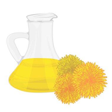 Dandelion essential oil vector illustration