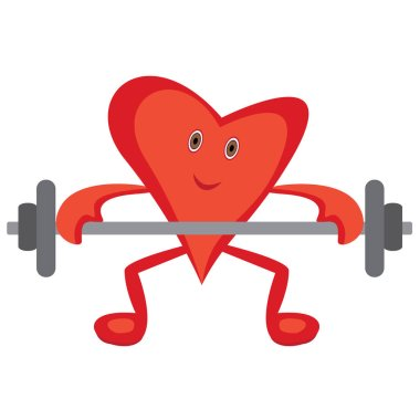 Heart doing Morning cardio exercises  lift barbell for a healthy heart concept