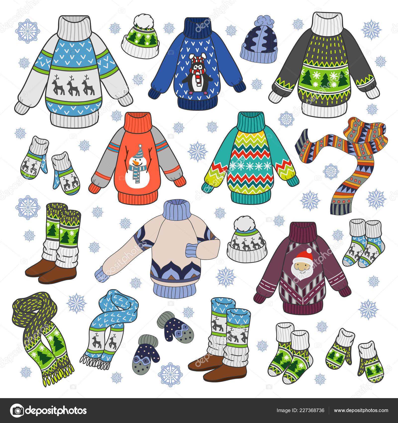 9075883be0f7 Colorful vector hand drawn cartoon set of Winter season clothes ...
