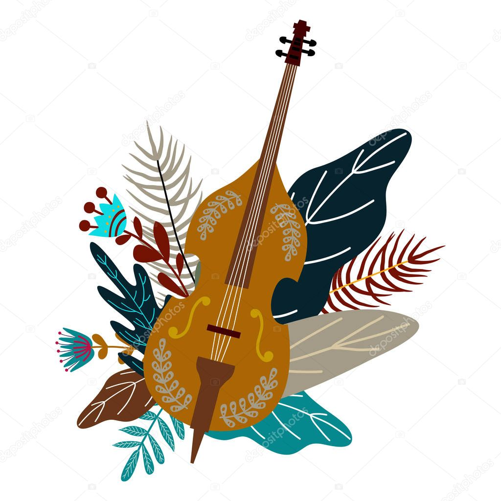 Isolated on white background cello and leaves with flowers. Decorative flat doodle element for design, vector