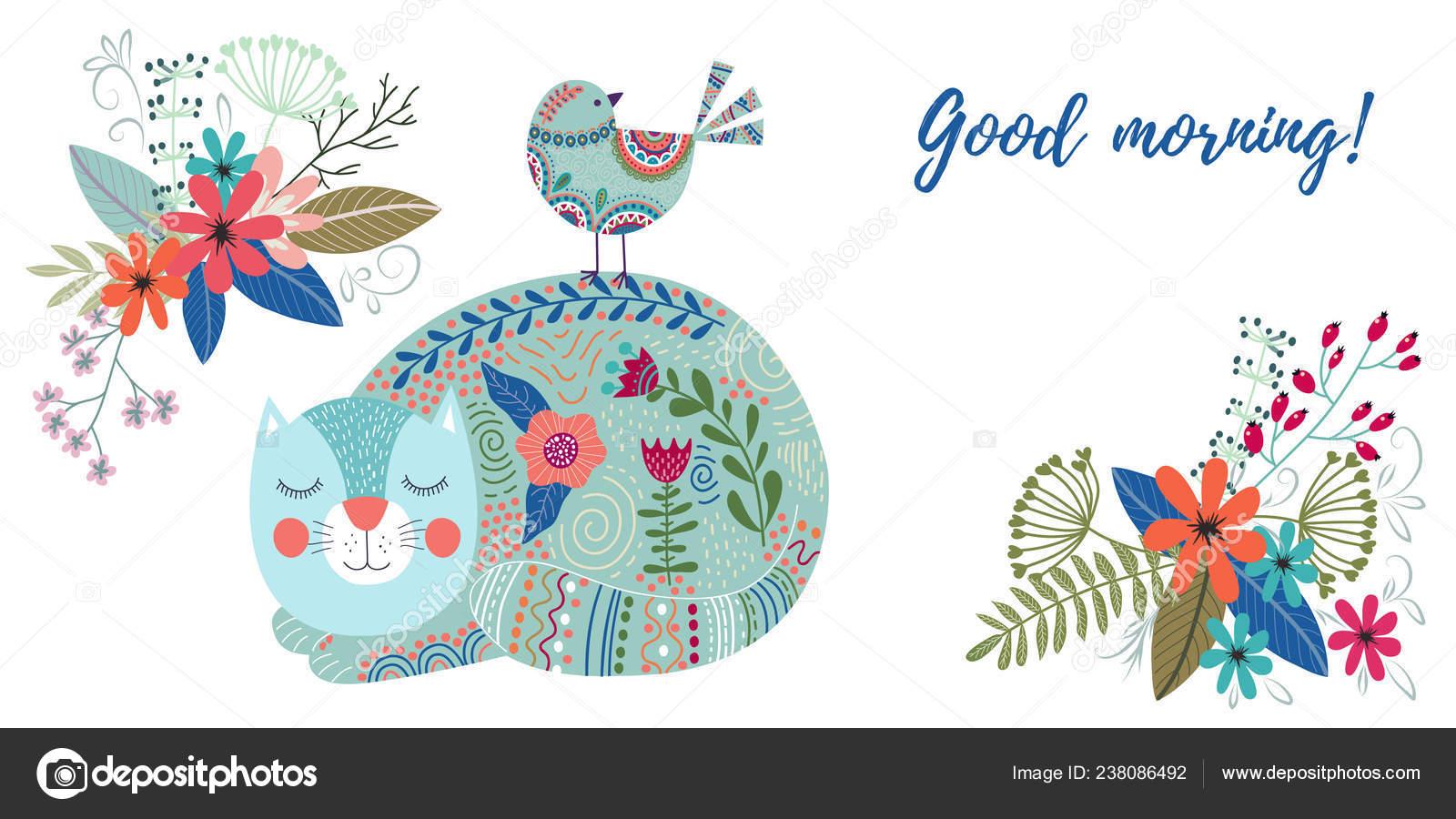 Guten Morgen Kunst Bunten Vektorgrafik Mit Niedlichen Katze