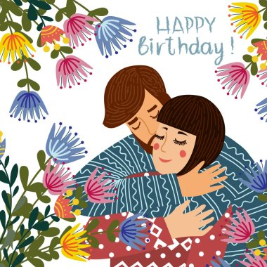 Happy birthday. Man kisses and congratulates a woman, Couple in love with flowers on a white background. Flat cute design vector