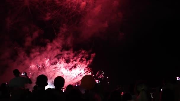 krásný ohňostroj sledování lidí Fireworks z