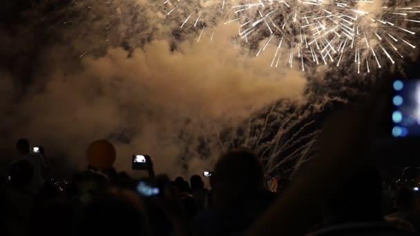 happy people look festive Fireworks