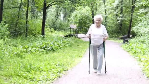 Großmutter geht mit Nordic-Walking-Stöcken alt grau