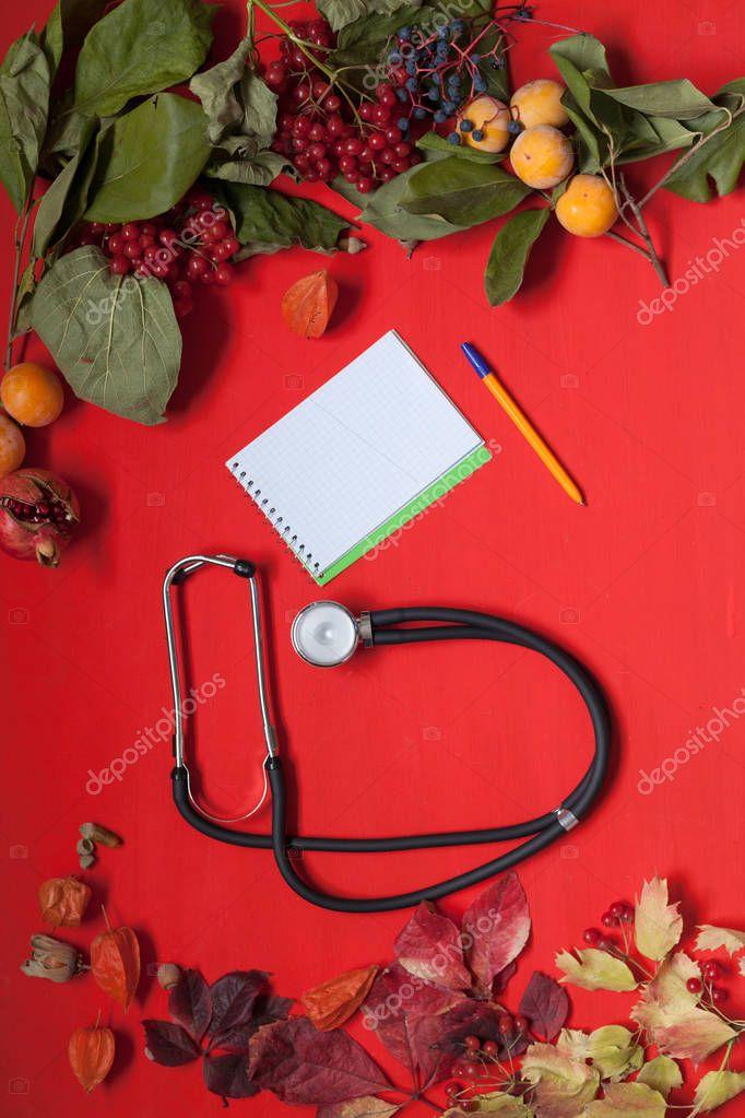 autumn background stethoscope yellow leaves hospital z