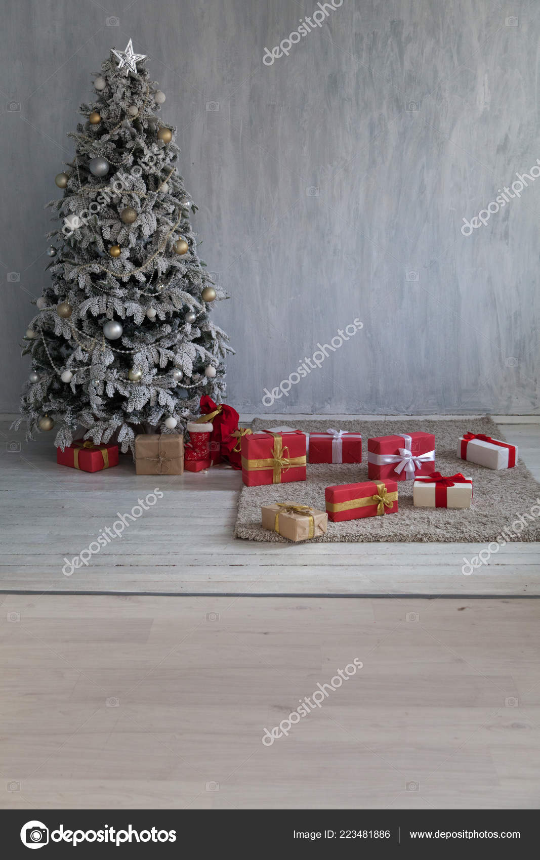 Winter Christmas New Year Tree Gifts Home Decor Stock Photo