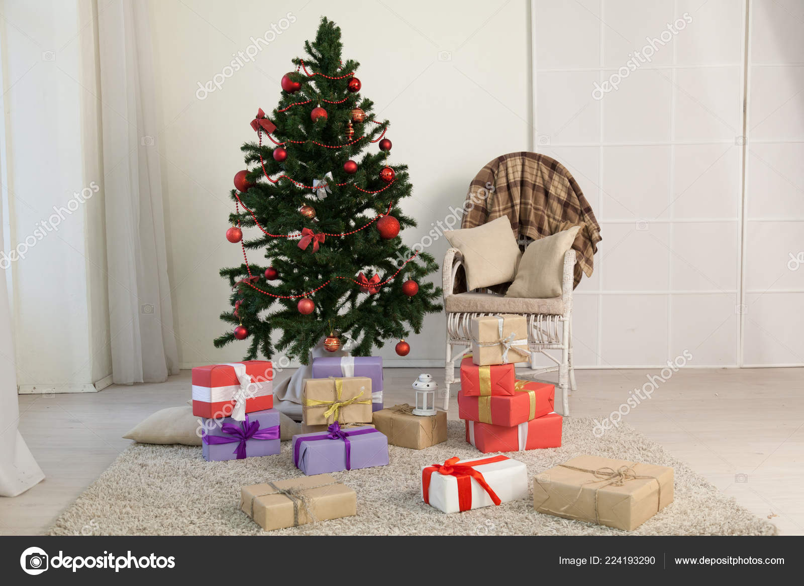 Christmas tree decor gifts new year holidays winter — Stock Photo ...