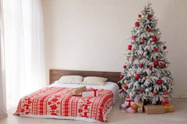 White Christmas tree with red bedroom toys new year winter gifts decor