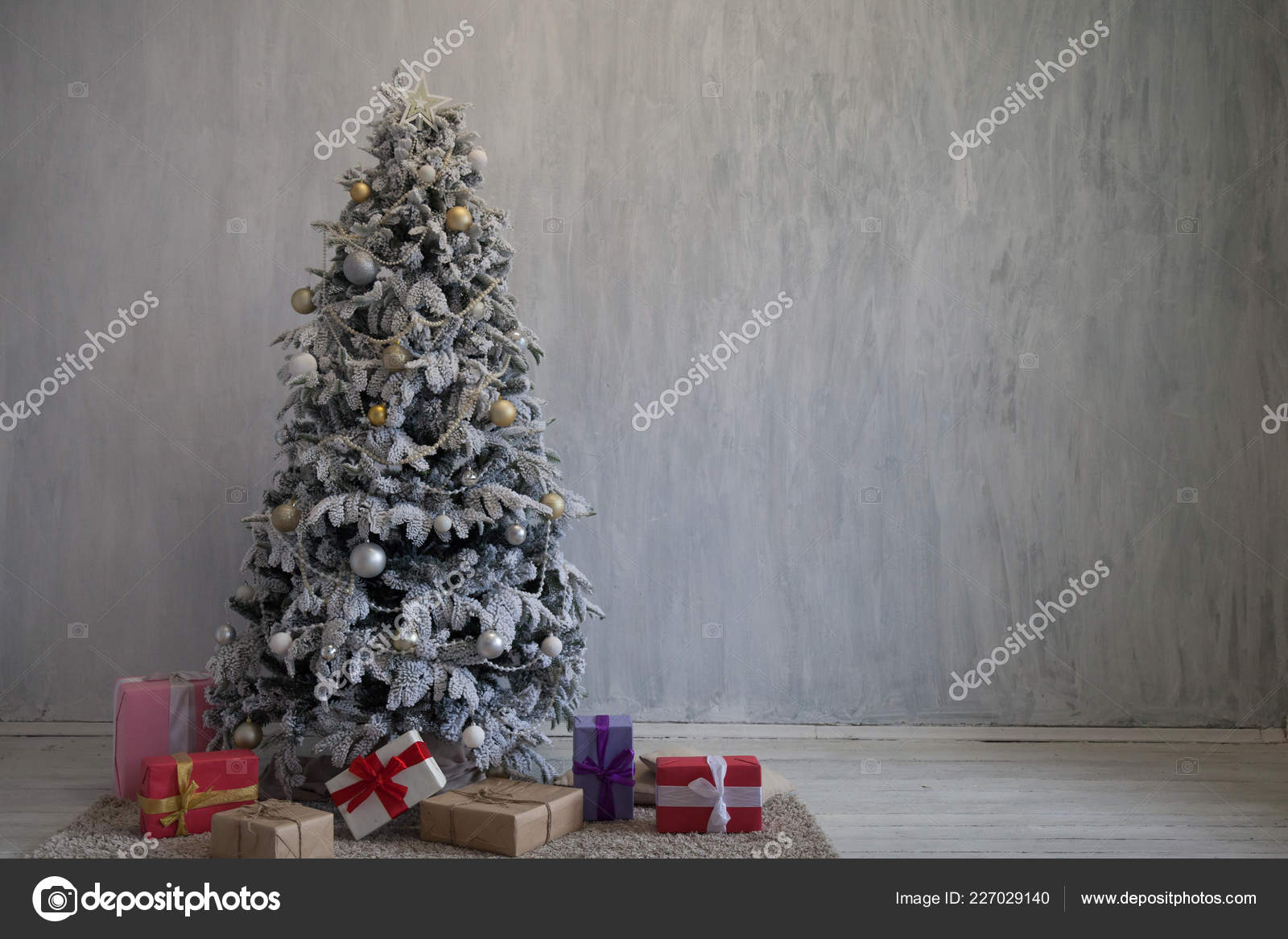 christmas background christmas tree new year gifts decor decoration holiday winter stock photo