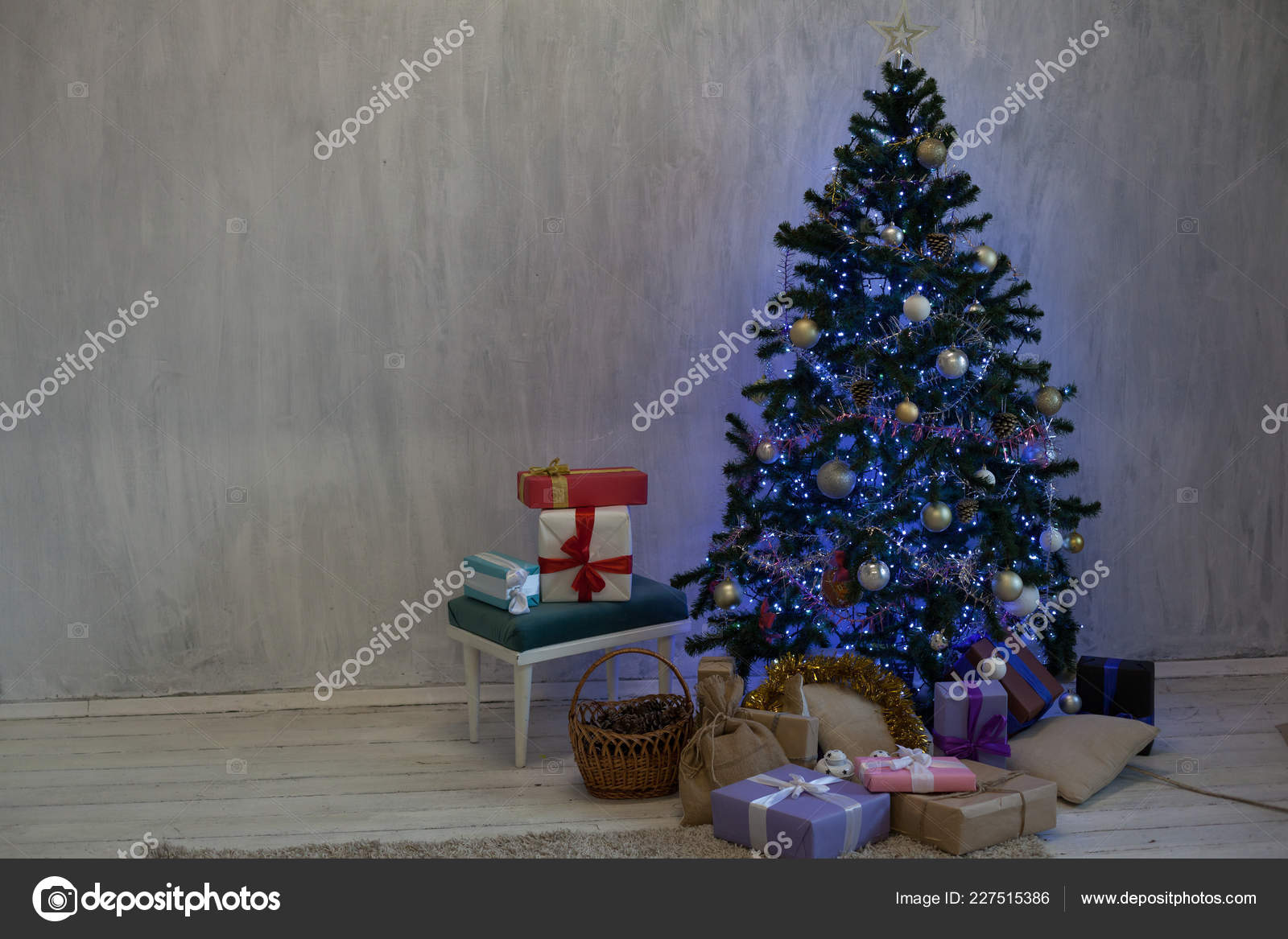 Holiday Christmas Interior home Christmas tree and gifts new year ...