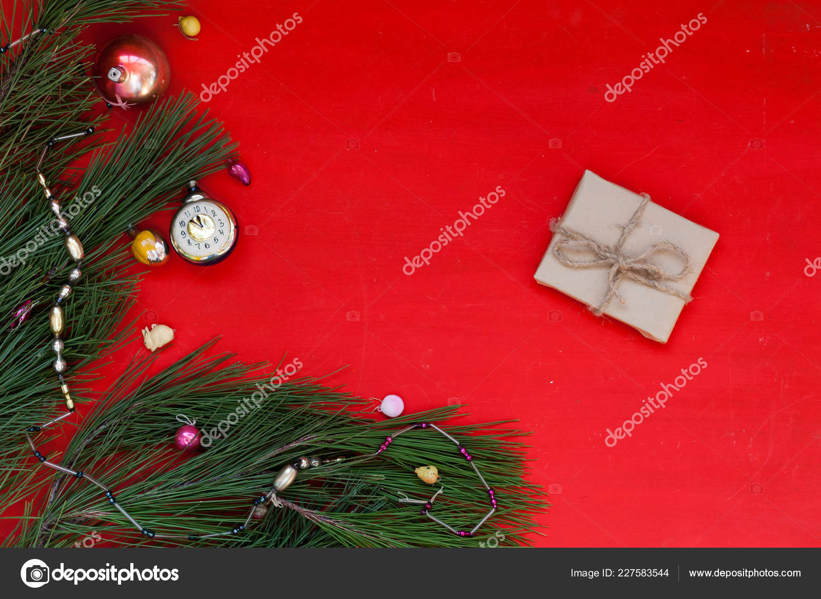 winter Christmas background Christmas tree holiday gifts new year ...