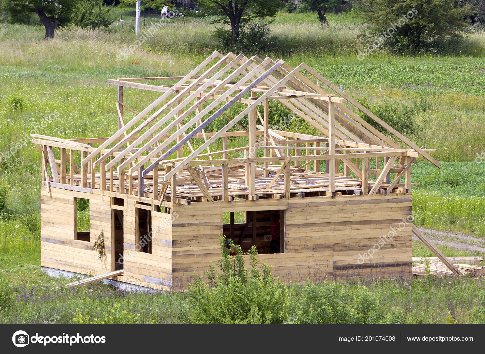 New Wooden Cottage Natural Lumber Materials Steep Plank Roof Frame