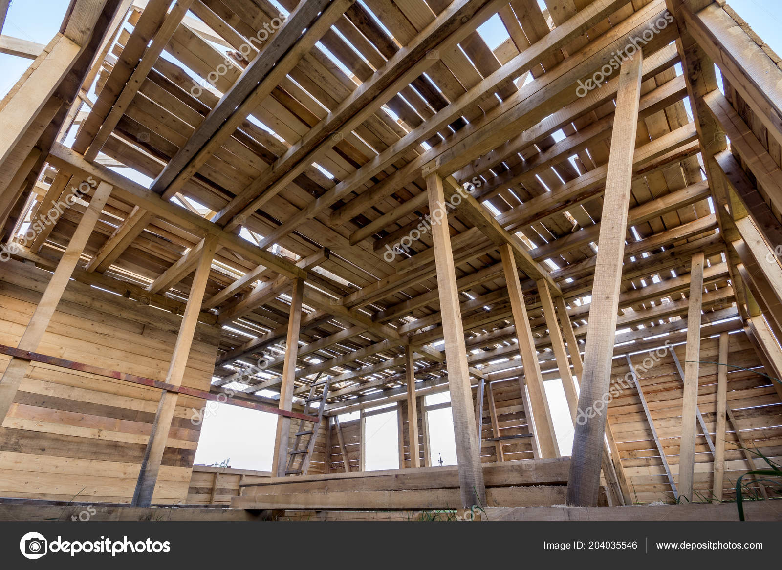 New Wooden House Construction Close Walls Ceiling Frame Windows Openings Stock Photo Image By C Bilanol I Ua 204035546