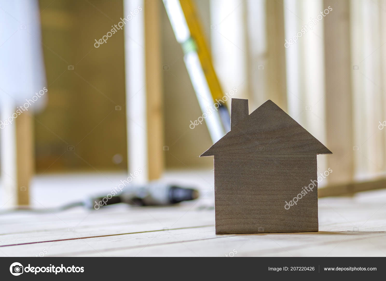 Close Simple Small Brown Model House Blurred Building Tools