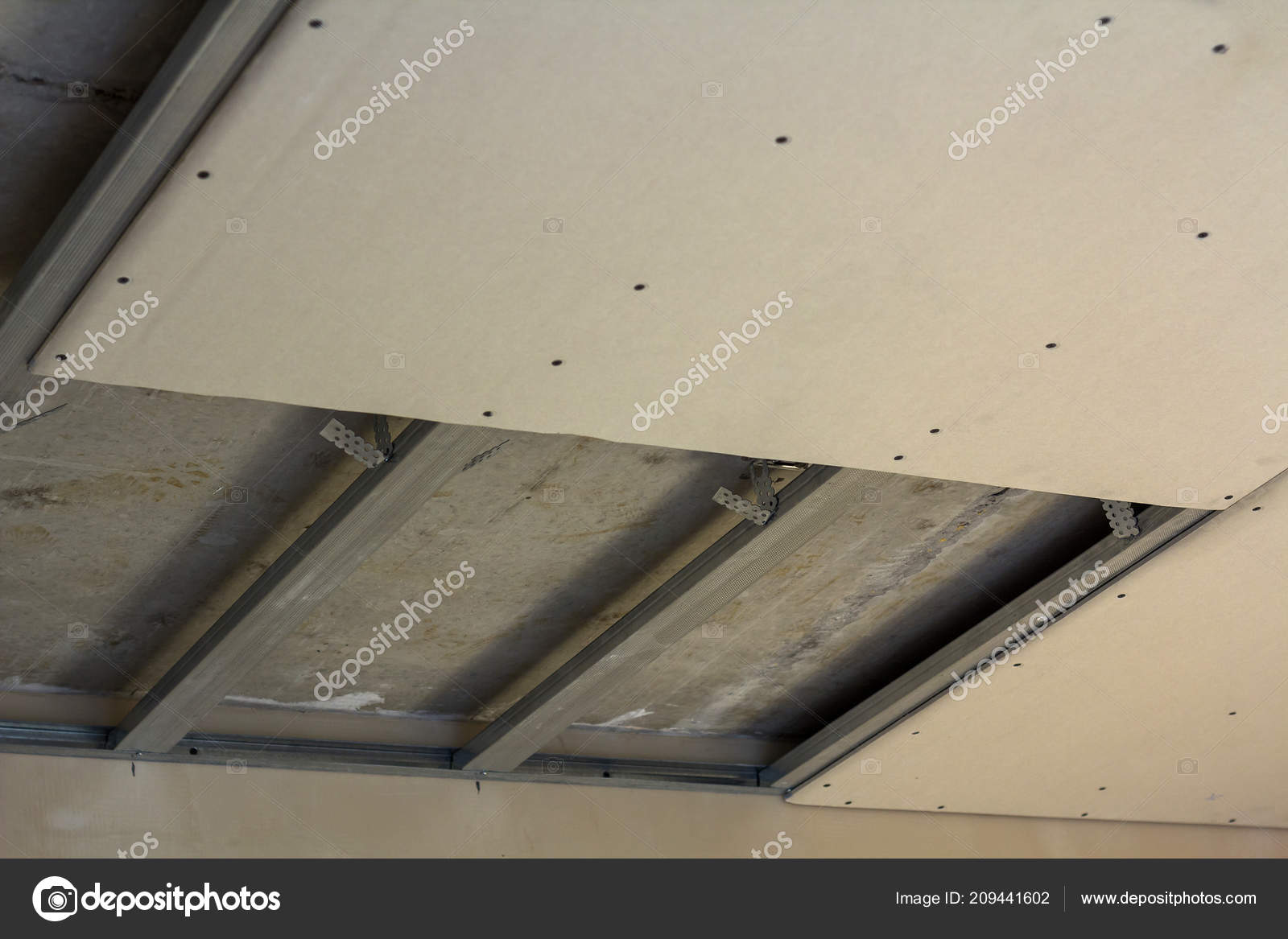 Close Detail Room Construction Suspended Ceiling Drywall
