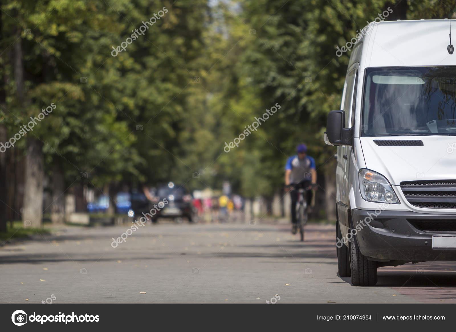 f2c59364fe White Passenger Medium Size Commercial German Luxury Minibus Van Parked —  Stock Photo