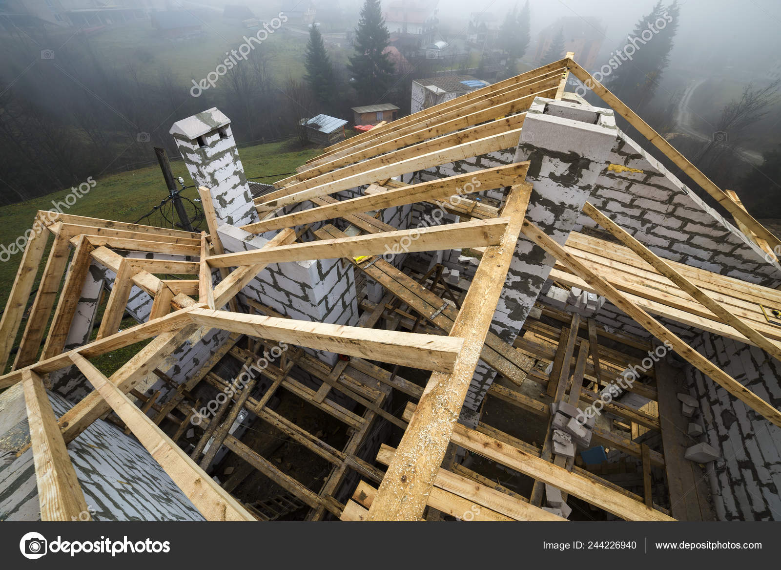 Top View Roof Frame Wooden Lumber Beams Planks Walls Made Stock