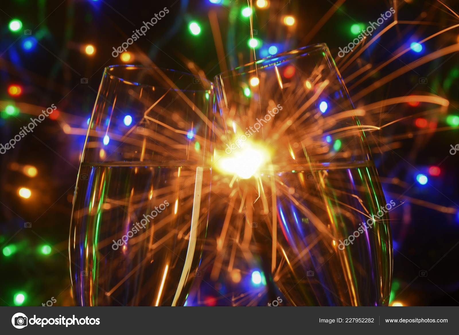 New Year Celebrate Color Spark Light Firework — Stock Photo