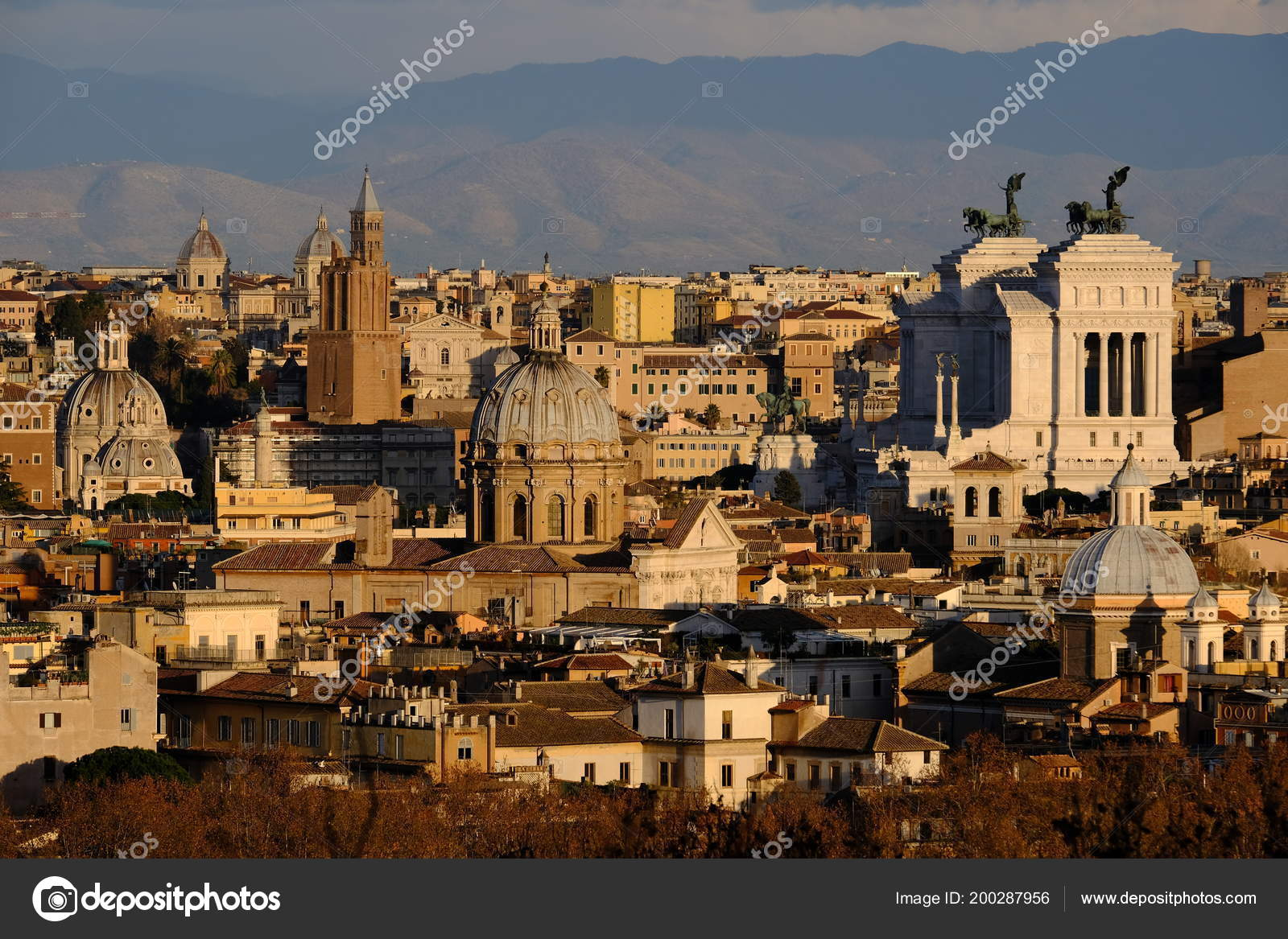 Panoramic View Rome Height Mons Janiculus Terrazza Del Gianicolo ...