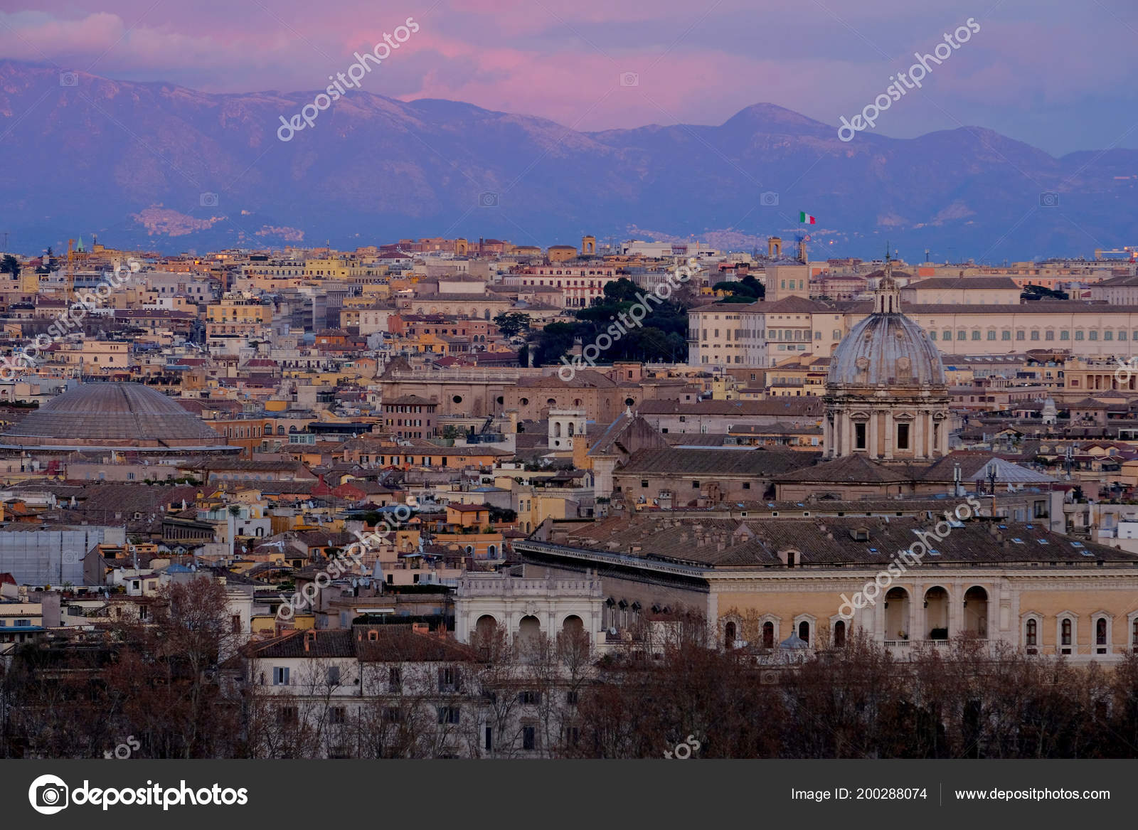 Panoramic View Rome Height Mons Janiculus Terrazza Del
