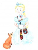 Winter princess with fox on white background. Lady winter color pencil children book illustration. Romantic princess in winter clothes and fox. Snow queen from fairy tale handdrawn on white background