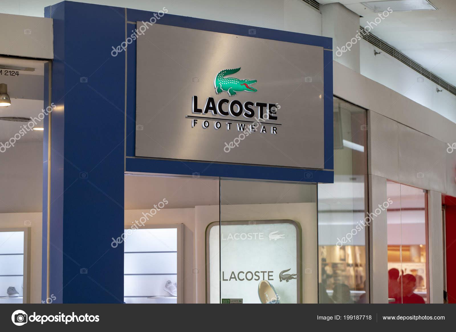 0551e27c7 Manila Philippines March 2018 Lacoste Brand Name Storefront Mall ...