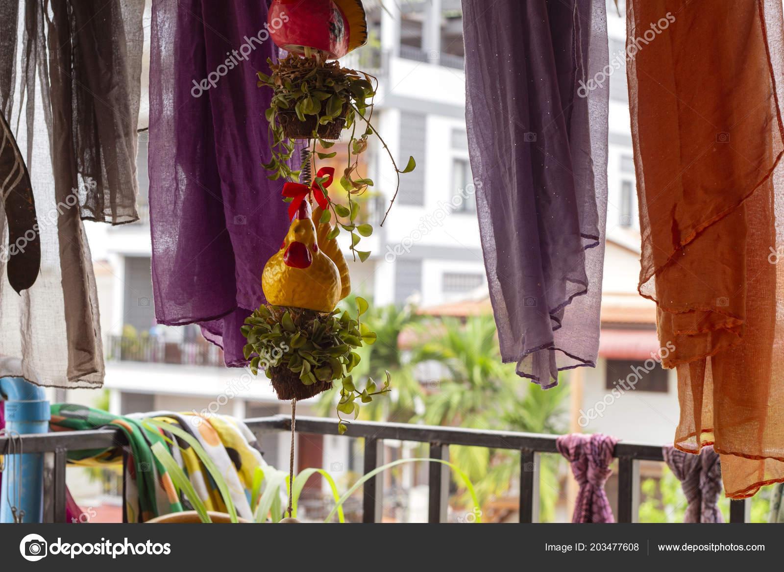 Open Terrace Restaurant Decor Chicken Toy Silk Curtains Summer Veranda Stock Photo C Davdeka 203477608