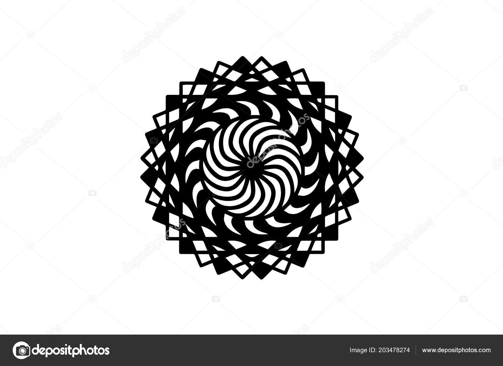 Black Spiral Mandala On White Background With Move Illusion Vector Round Stamp Template Circle Ornament Isolated Abstract Medallion