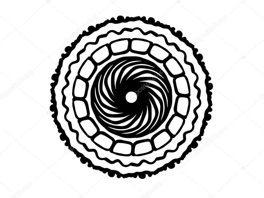 черная мандала орнамент белом фоне простая рисованная