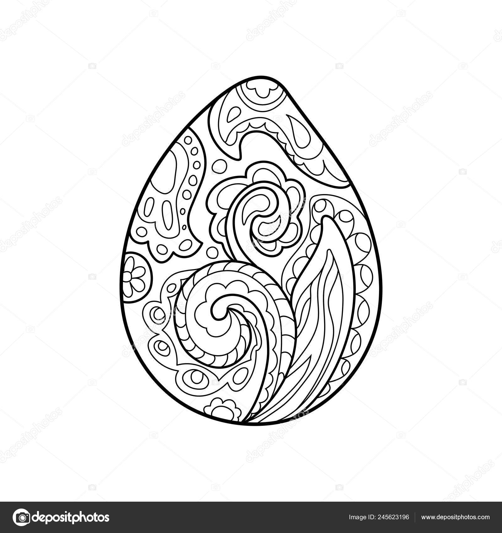 Easter Egg Coloring Greeting Card Ornament Egg Outlined ...